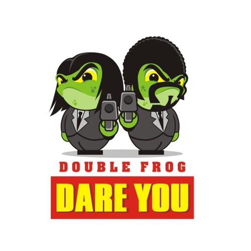 "Kick ass Pulp Fiction style logo for ""Double Frog Dare You"""