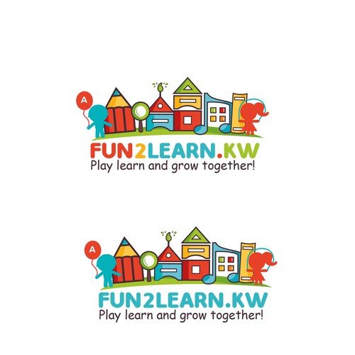 colorful, playful and smart logo for Fun2learn kids activities focus on language, math, fine motor skills, arts, and many other skills
