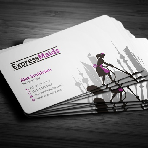 "Business card design for ""ExpressMaids"""