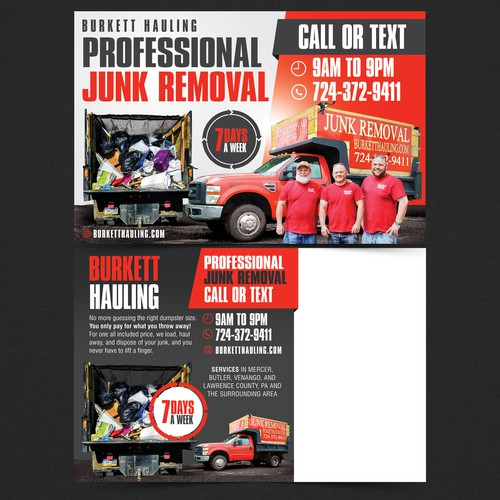 Have fun creating a unique postcard for our Junk Removal Company!