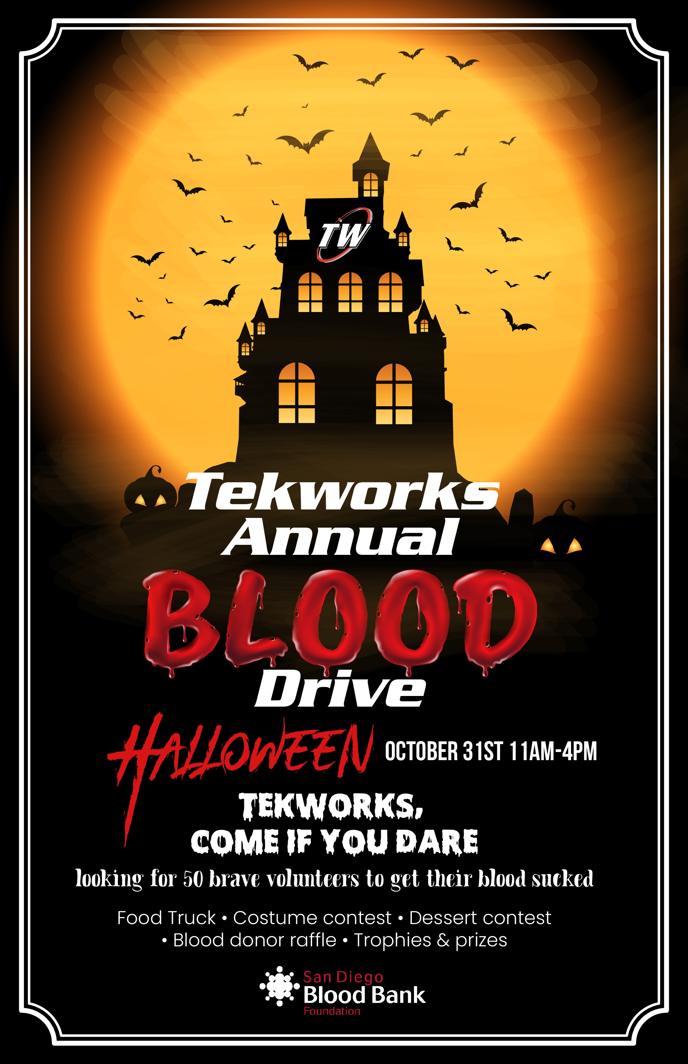 Poster for a blood drive for a company to post on a bulletin board