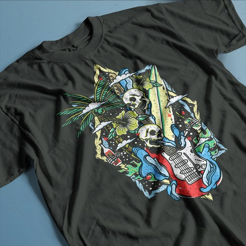 surf rock tshirt