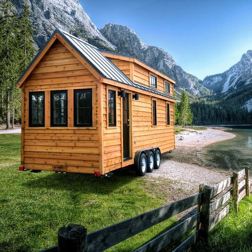 Retouch tiny house on landscape