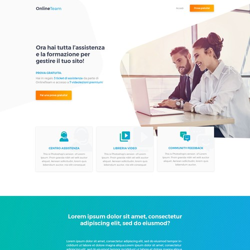 Landing Page for a service that offers training and assistance in setting up Wordpress sites