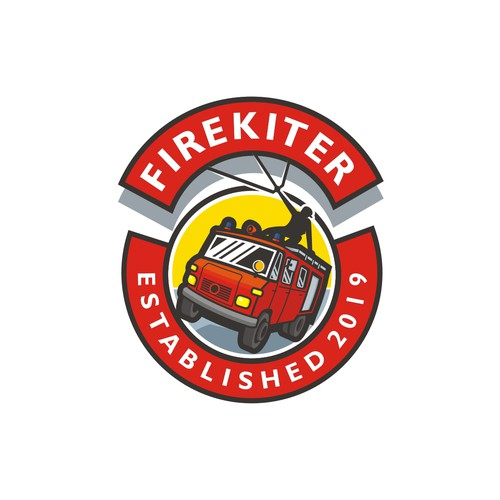 Firekiter - Logo for a fulltime kitesurfing vlogger and his firetruck.