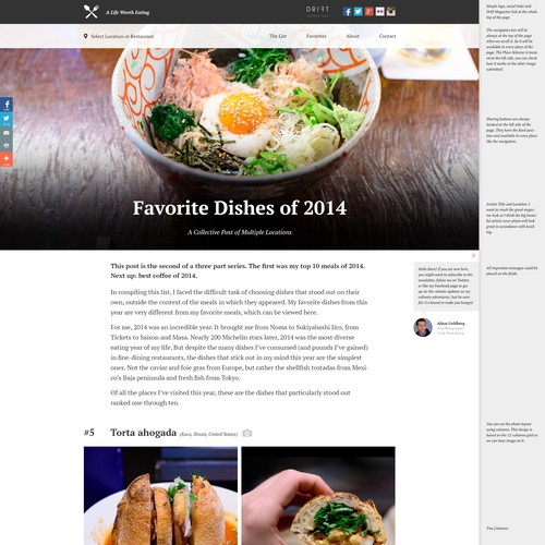 Help make a prominent food blog more photo-centric and minimalist.