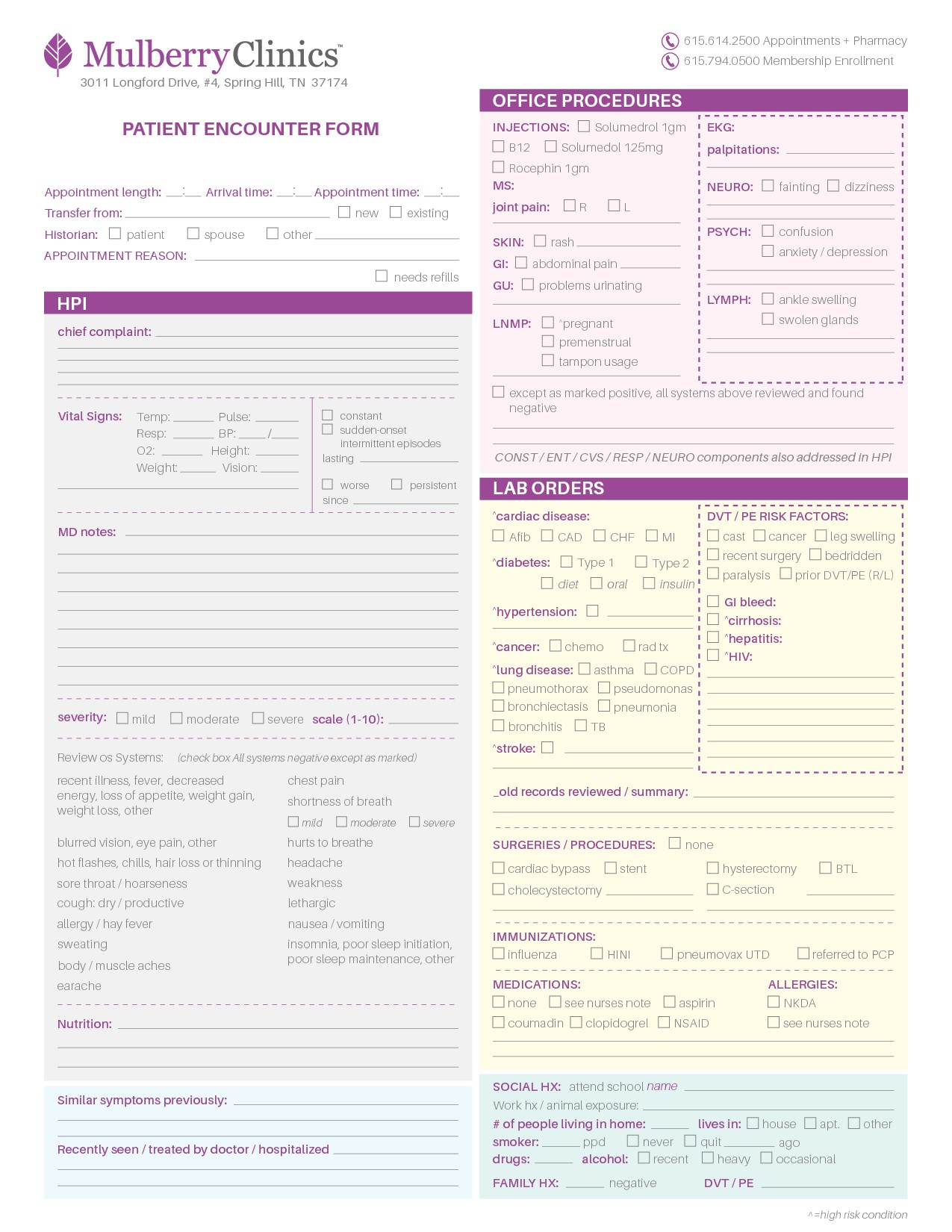 Mulberry Clinics Intake form