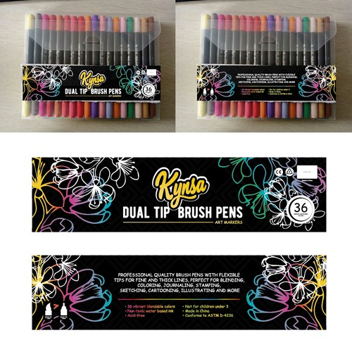 Art Supplies Package Design - Vibrant Colored Design For Dual Brush Tip Pens