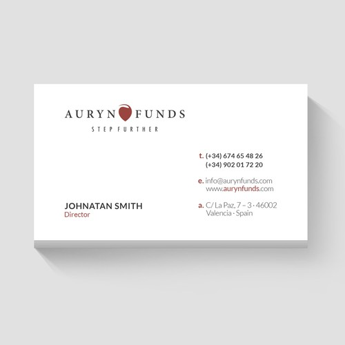 Business Card For Auryn Funds