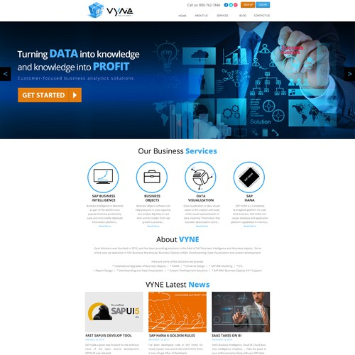 Create a winning website for this Business Intelligence Company