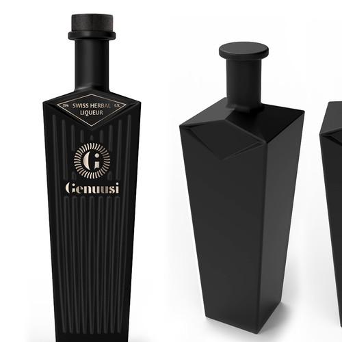 Liqueur Bottle Shape Design and Label Design