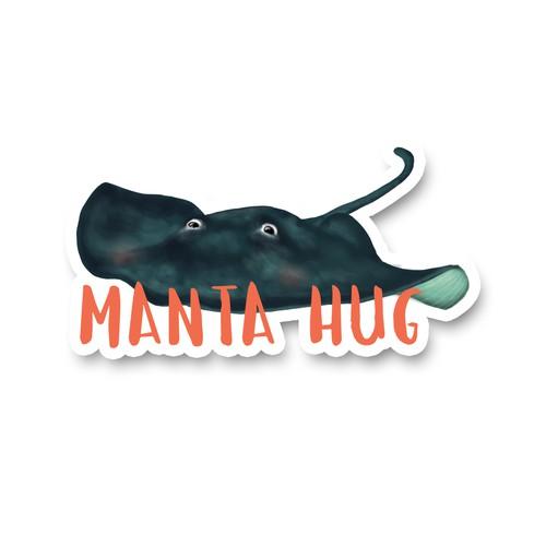 Oceans sticker, manta hug