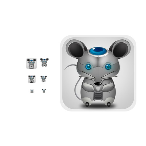 App Store icon of a cyborg mouse or similar