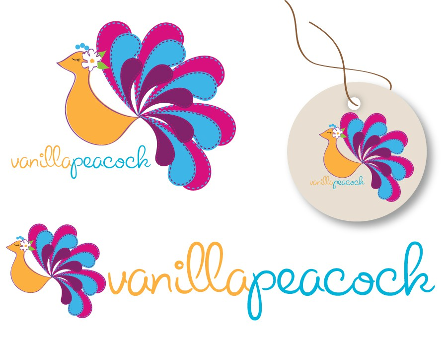 Create the next logo for Vanilla Peacock Girls Clothing Boutique
