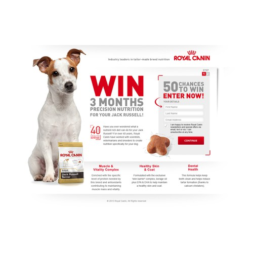 Landing page for Royal Canin