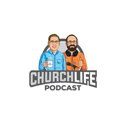 cartoon logo for Church Life Podcast