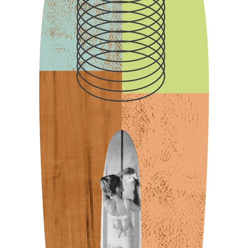 Creative, collage style design for longboard