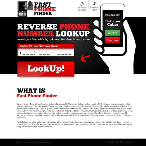 Design a Landing Page for Reverse Phone Lookup Website