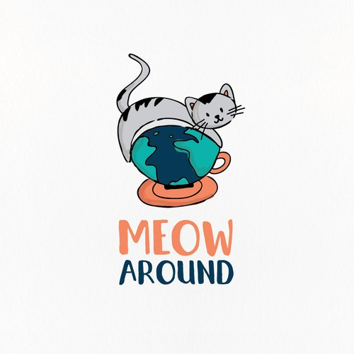 Fun hand drawn cat cafe logo