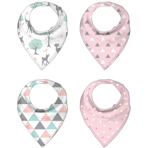 Print designs for baby bandana bibs
