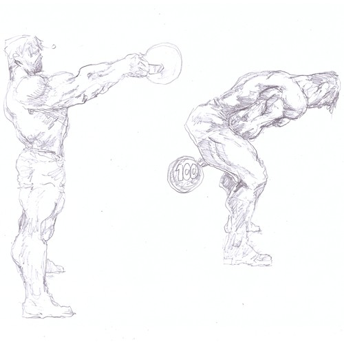 Bodybuilder in comics style unconvetional