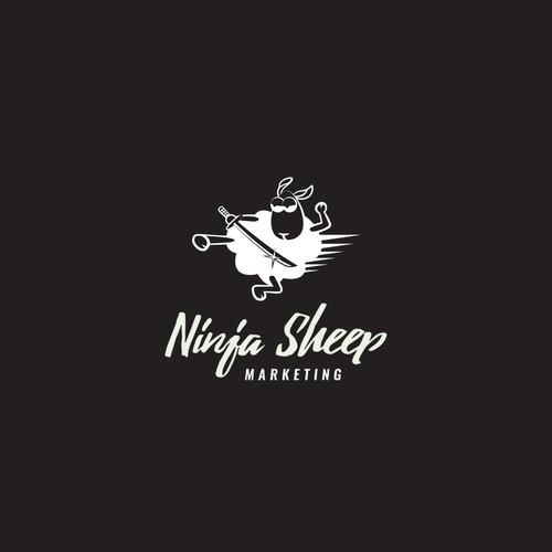 Playful logo for Ninja Sheep Marketing