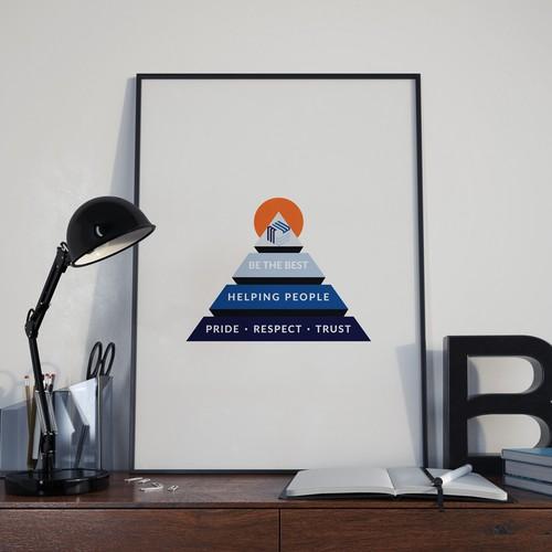 Modernized pyramid logo with slogans