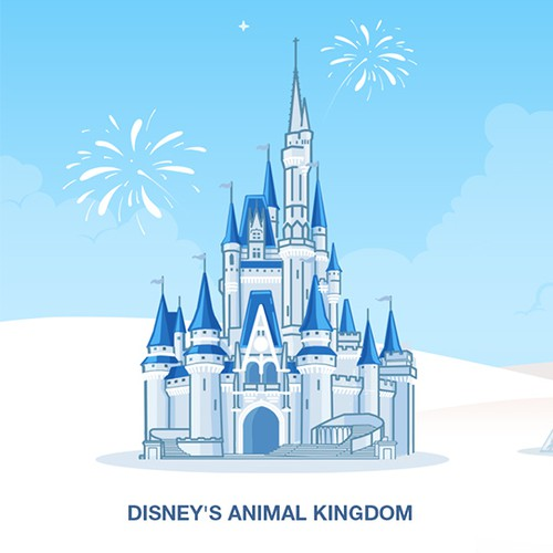 An Illustration for a header that combines the four main parks at Disney World.