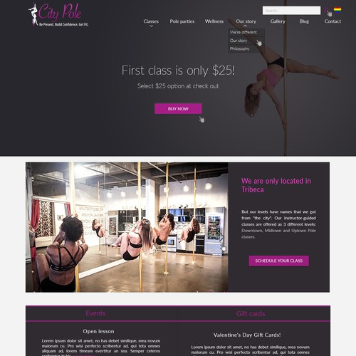 Redesign of a pole dance studio page