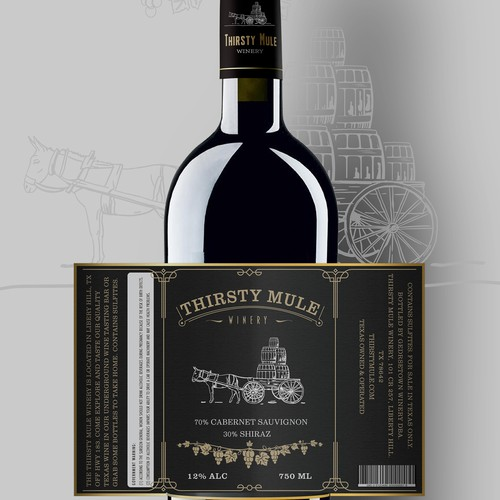 Thirsty Mule Winery label
