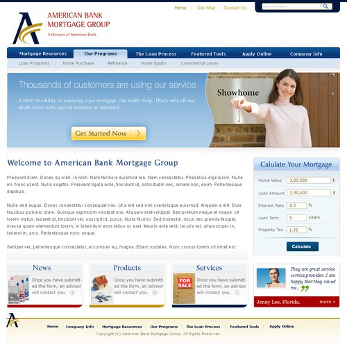 Homepage Design for Mortgage Company