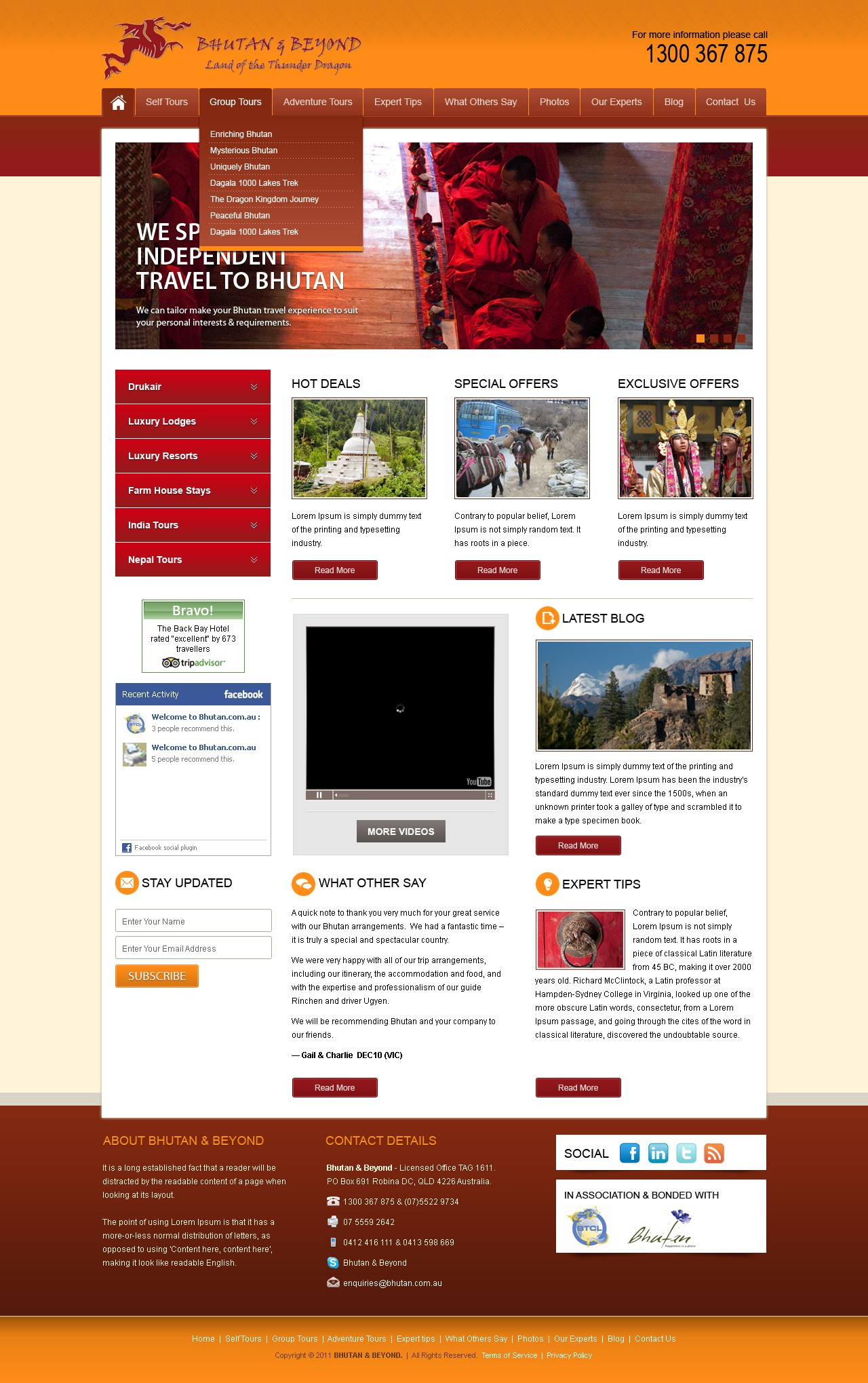 Bhutan & Beyond needs a new website design