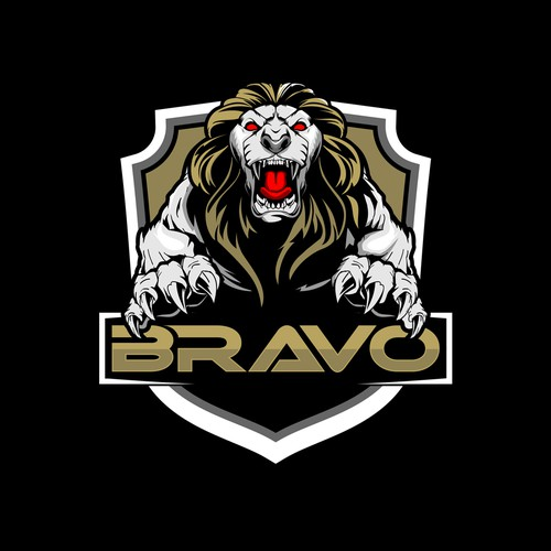 aggressive Lion animal character badge logo vector for BRAVO
