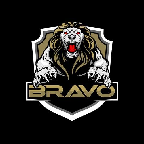 aggressive Lion animal character badge logo vector for BRAVO