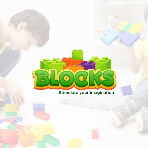 Design a logo for a lego competitor featuring oversized blocks targeted at children and families