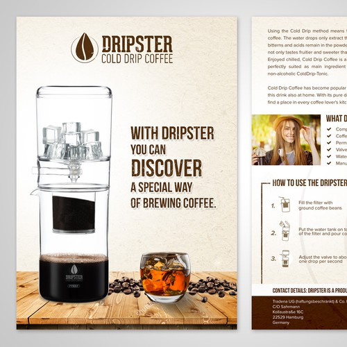 Flyer design for Dripster cold drip coffee