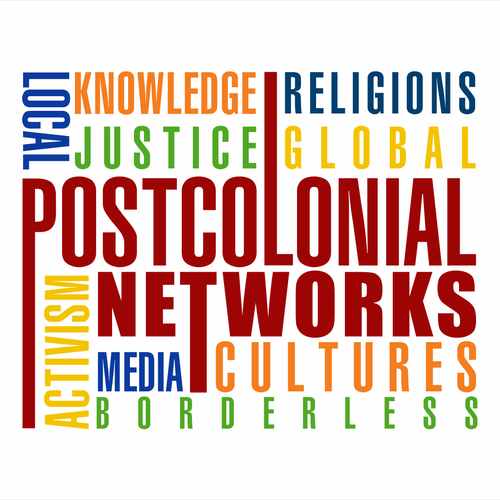 creative, interwoven and unexpected logo display of selected words for a global justice org
