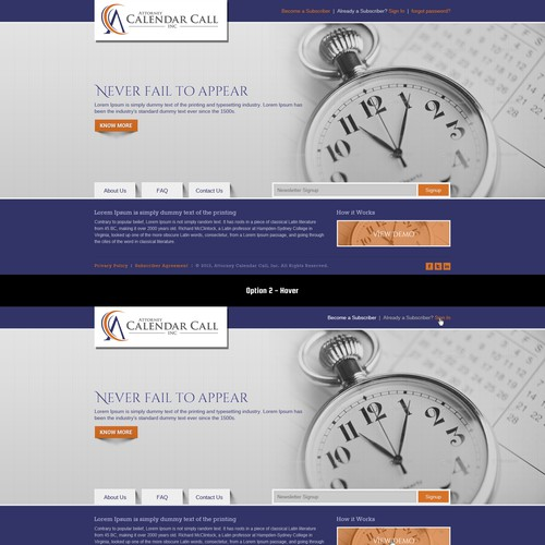 Help Attorney Calendar Call, Inc. with a new website design