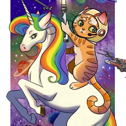 Cat riding a unicorn illustration