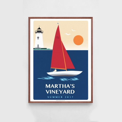 Travel poster for the island of Martha's Vineyard.