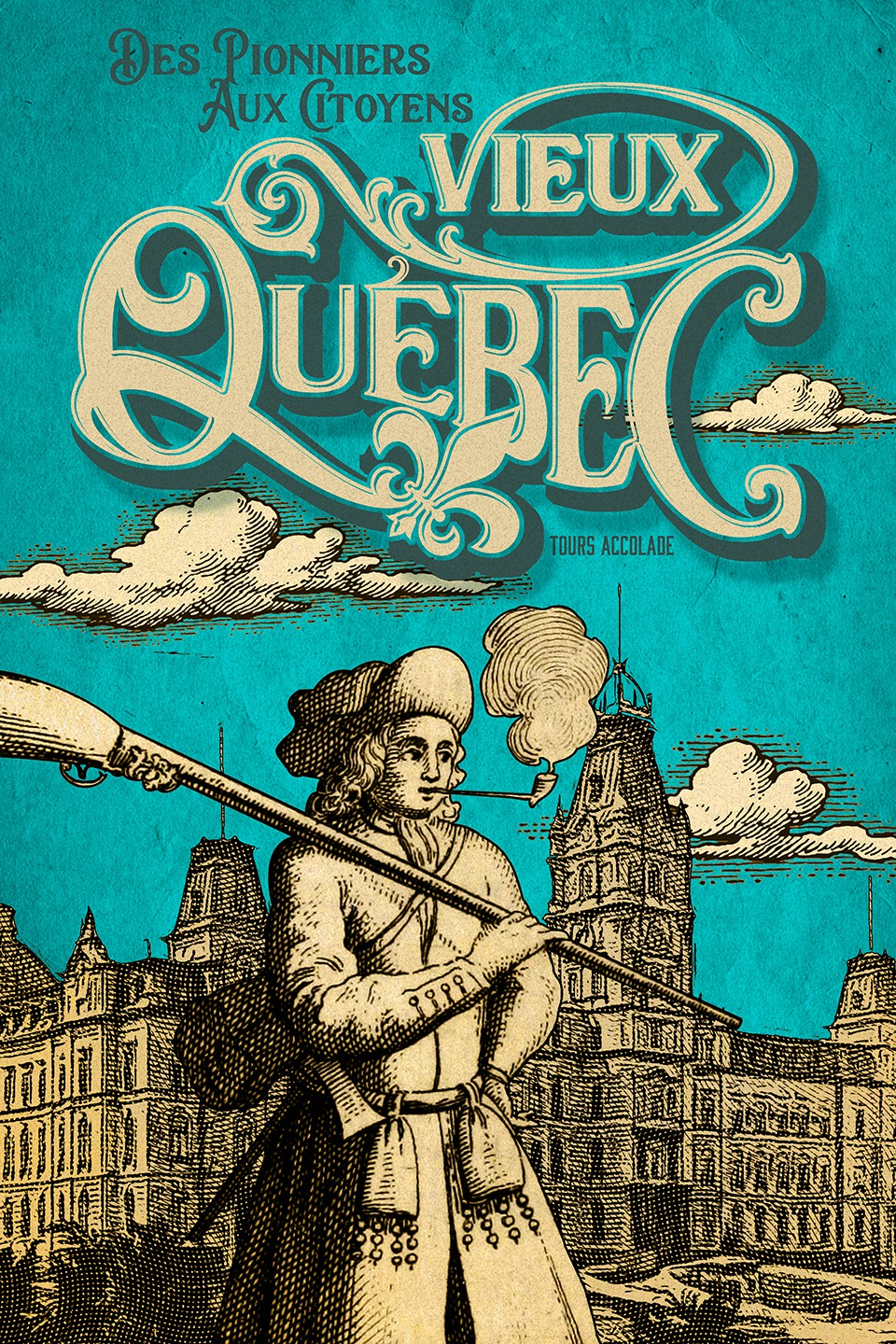 Design an awesome poster for a historical tour in Old Quebec