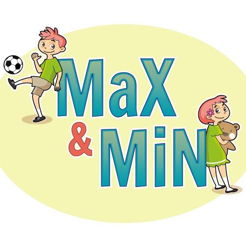 Twin boy and girl cartoon characters