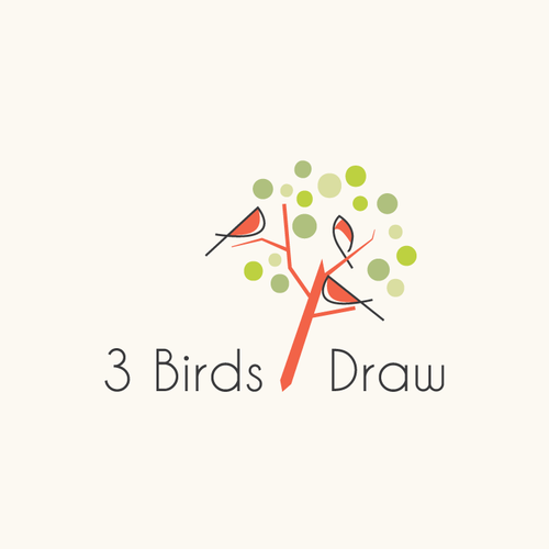 Artistic Logo for 3 Birds Draw