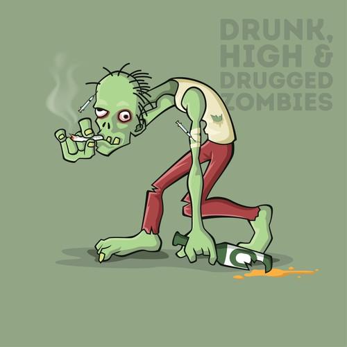 Drunk Zombie Illustration
