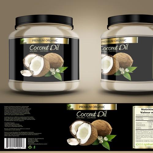 Coconut oil label concept