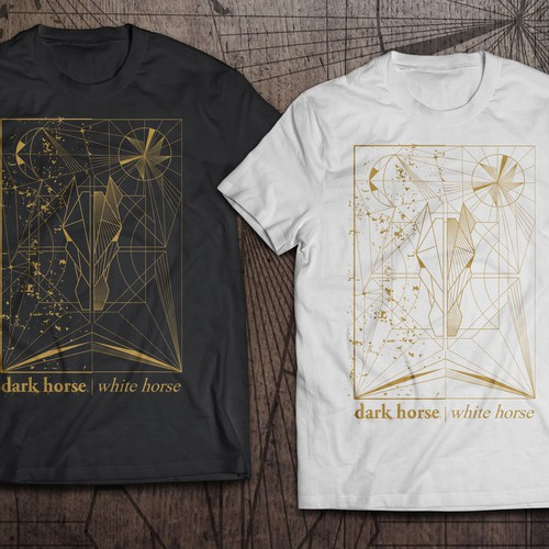 T-shirt design dark horse | white horse