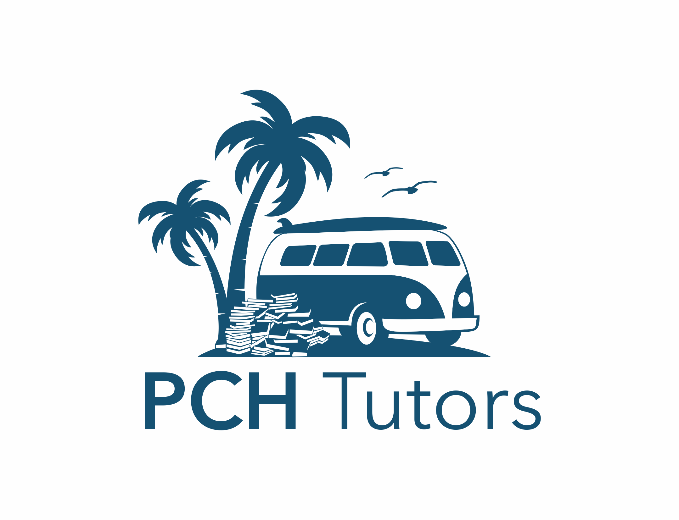 Create An Iconic Logo for a Private Tutoring Company that includes surf board, VW Surf van, or animal