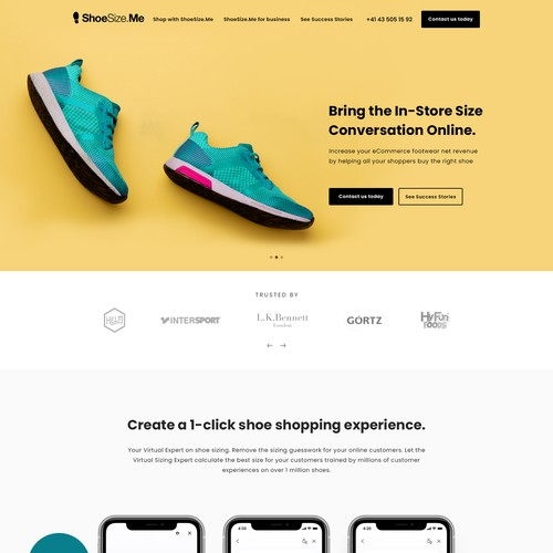 B2B Landing Page for Shoesize.me