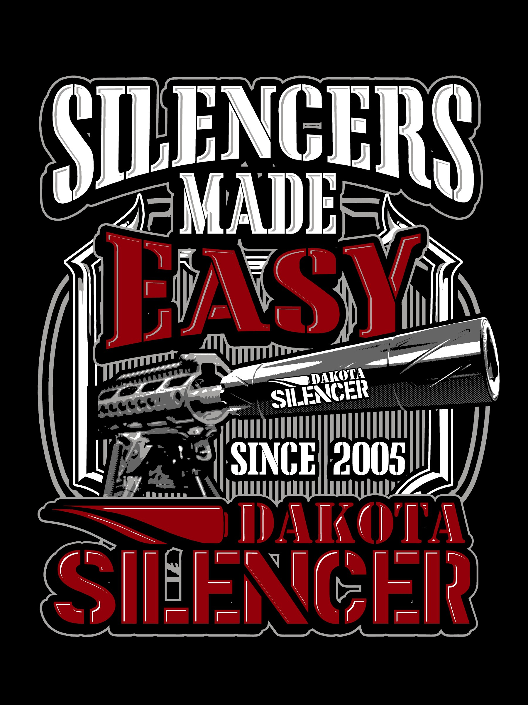 Create Simple t-shirt design for Dakota Silencer (Tactical, Masculine)