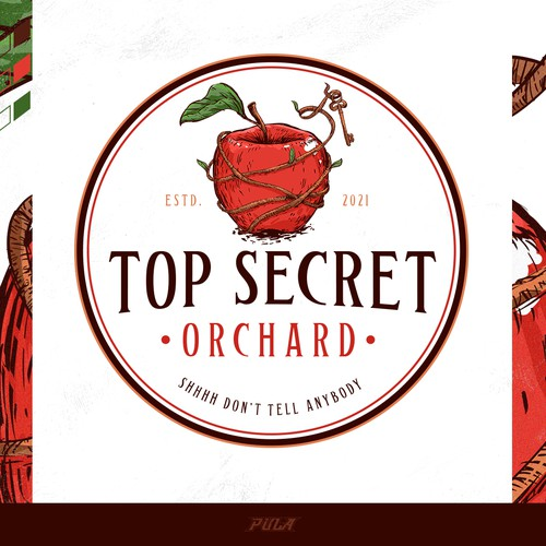 A classic and whimsical logo design for Top Secret Orchard